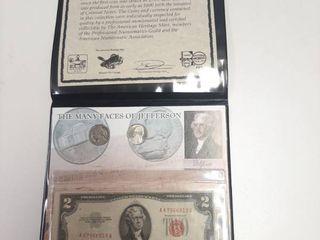 Jefferson Nickels and  2 Bills