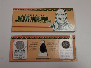 Arrowhead and Coin Collection   1935 Buffalo Nickel and 1902 Indian Head Cent