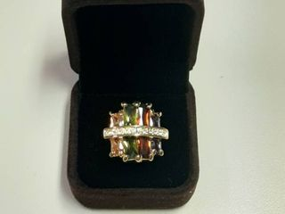 Ring with Multiple Colors Stones in Box