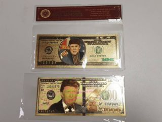 2  Trump Gold Banknotes