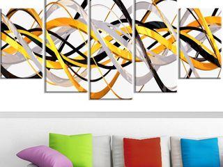 Design Art  Grey and Gold Waves  5 Panel Canvas Art Print