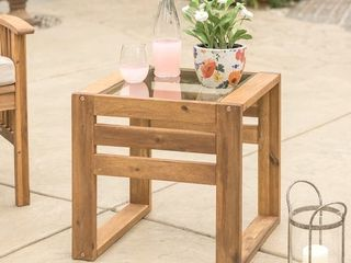 Hudson Brown Acacia Outdoor Side Table w  Glass Top
