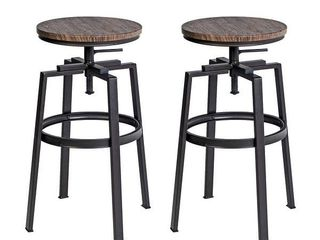 Carbon loft Delta Swivel Walnut Bar Stool Counter Height  Set of 2