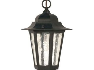 Cornerstone light Textured Black with Clear Seed Hanging lantern