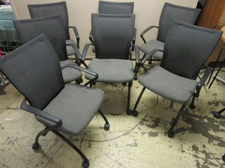 HAWORTH FOlDING OFFICE CHAIRS  ON CASTERS