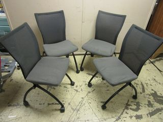 HAWORTH OFFICE CHAIRS  FOlDING  ON CASTERS