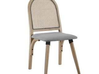 Art leon Rattan linen Fabric Cane Dining Side Chair w  Bamboo Frame