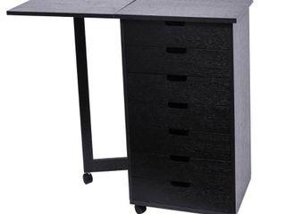 Wood Filing Cabinet Office Desk w  7 Drawer Gate leg Roll Cart  Retail 127 49