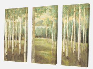 Designart  Aspens Neutral Forest  Traditional Gallery Canvas   3 Panels