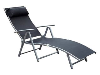 Outsunny Steel Sling Fabric Outdoor Folding Chaise lounge Chair Recliner   Black Retail 81 48