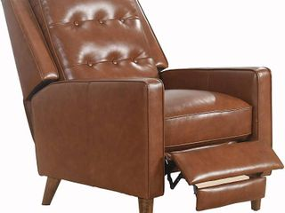 Abbyson Holloway Mid century Top Grain leather Pushback Recliner Retail 739 99
