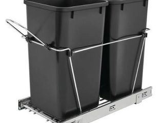 Rev A Shelf 27qt Plastic Pull Out Trash Cans   Set of 2