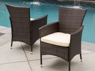 Malta Outdoor Wicker Dining Chair by Christopher Knight Home   Set of 2