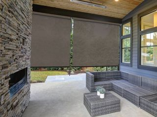 Radiance Cordless Exterior Crank Operated Coconut Brown Solar Shade