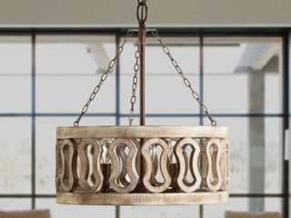 3 light Drum Shade Wood Chandelier with 3 Chains  Rust Wood Retail 212 99