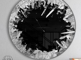 Strick   Bolton 23   Abstract Broken Wall 3D Design  Metal Clock