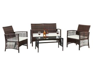 4Pcs Outdoor Patio Furniture Set Table Chair Sofa Cushioned Seat