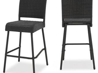 Neal Outdoor Wicker Barstools by Christopher Knight Home   Set of 2