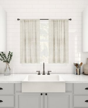 Clean Window Textured Slub Stripe Anti Dust linen Blend Sheer Cafe Curtains   Set of 2