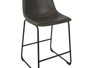 Carbon loft Richard Faux leather and Iron Counter Stool  Set of 2