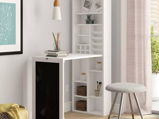 Utopia Alley Collapsible Fold Down Desk Table Wall Cabinet with Chalkboard and Bottom Shelf  White