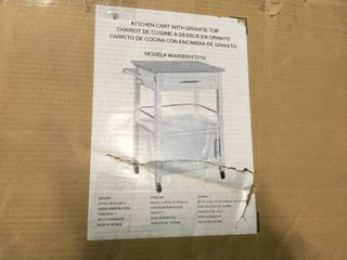 lINON HOME DECOR Mitchell White Kitchen Cart With Storage  SEE PICS