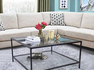 Silver Orchid Caprice Square Glass Coffee Table Retail 206 49