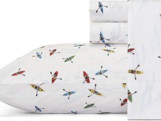 Full Printed Pattern Percale Cotton Sheet Set Gray Kayak   Eddie Bauer