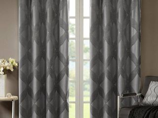 SunSmart Abel Ogee Knitted Jacquard Total Blackout Curtain Panel
