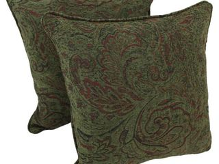 Blazing Needles Corded Floral Green Jacquard Chenille 18 inch Throw Pillow