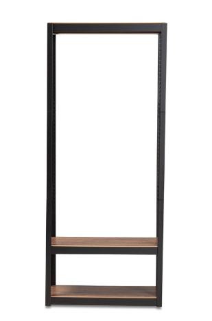Baxton Studio Black and Brown Adjustable 3 Tier Solid Shelving Unit  B2