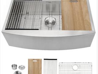 logmey 33inch Farmhouse Kitchen Sink Workstation  B3