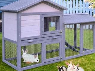 PawHut large Outdoor Raised Painted Rabbit Hutch  B3