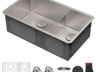 Kraus 32  Undermount Double Bowl Stainless Steel Kitchen Sink  C1