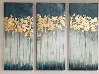 Strick and Bolton Midnight Forest Gold Foil 3 Panel Wall Art  C1