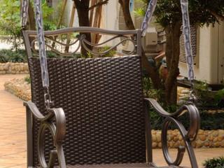International Caravan Valenica Resin Wicker Steel Hanging Single Chair Swing  Chocolate  C2