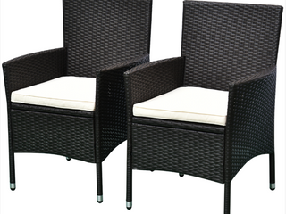 Outsunny 2pcs Patio Furniture Ratten Wicker Arm Chairs  D3