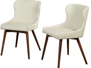 Set of 2 Seguro Dining Chairs Cream  D3