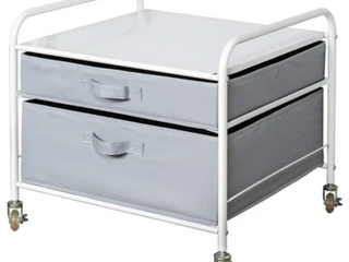 Fridge Cart In White Frame With Gray Drawers  A2