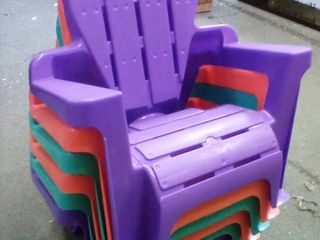 6 Plastic Childrens lawn Chairs  A3