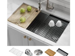 Kraus Workstation 30 inch Undermount 16 Gauge Single Bowl Stainless Steel Kitchen Sink