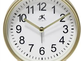 Matte Gold 6 Inch Decorative Tabletop Alarm Clock  A3