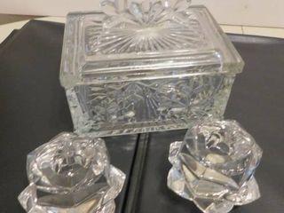 Gorham lead Crystal Candleholders   Trinket Box