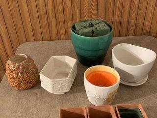 Assorted flower pots