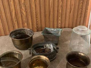 Assorted brass flower pots And glass jar