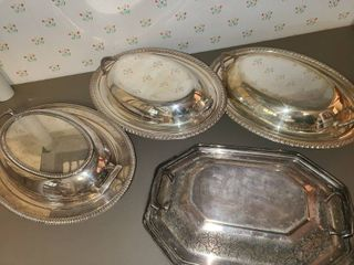 4 Silverplate Serving Platters with lids