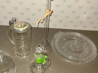 Miscellaneous Glass  Serving Platters  Beer Stein  Vase   hand blown glass  and other items