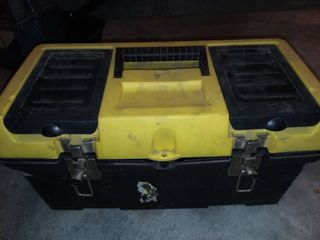 Yellow and Black Plastic Toolbox with Contents