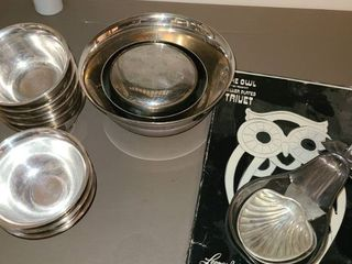 Silverplated Bowls  Trivet  and Spoon Holders