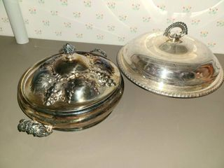 2 Silverplated Chafing Dishes